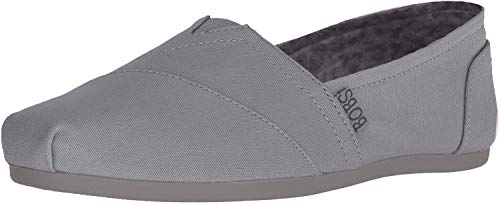 Skechers BOBS Women's Bobs Plush-Peace & Love Ballet Flat, Light Grey, 6.5 M US