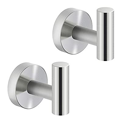 MARMOLUX ACC Towel Hook Bathroom Single Coat Hook Bath Kitchen Hand Towel Holder Hat Door Hanger Rack Home Storage Spave Saver Bathroom Hardware Wall Mount Stainless Steel Brushed (2 Pack)