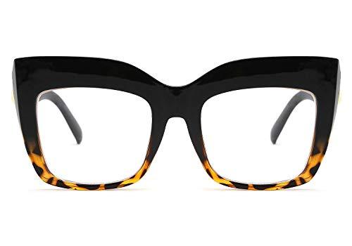 FEISEDY Square Oversized Reading Glasses Blue Light Blocking Reader Glasses Frame Eyewear Women B2627 Black-leopard 1.5x