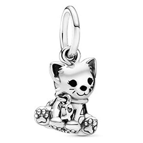 Pandora 925 Sterling Silvercharm Fashion Wee Art Cat Pendant Fit Women Necklace diy Love Jewelry