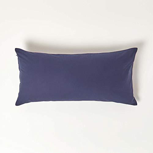 HOMESCAPES Taie d'oreiller 40x80 cm en 100% Coton égyptien 200 Fils Coloris Bleu Marine