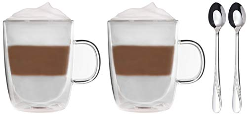Snobby 2X 450ml Thermotassen + 2X Edelstahl-Longdrinklöffel - 2X doppelwandige Tassen + 2X Löffel - by Feelino