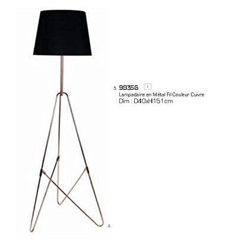 Sema 98356 - Lampadario in metallo nero, filo color rame, diametro 40 x altezza 151 cm