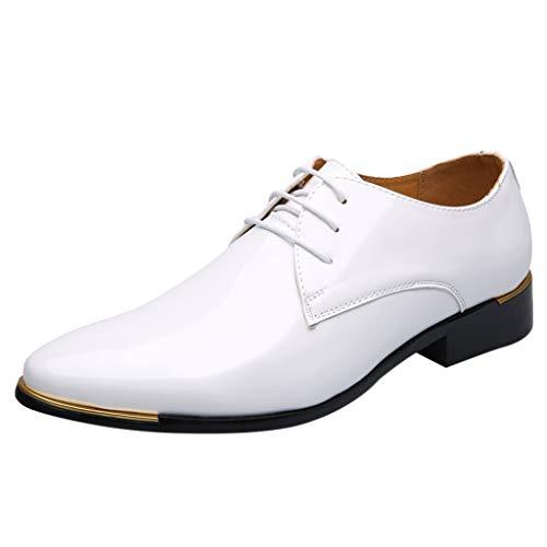 FNKDOR Schuhe Herren Geschäft Lackleder Spitz Lederschuhe Formelle Kleidung Berufsschuhe Schnürsenkel Freizeit Business-Schuhe Kleid Schuhe Weiß 46 EU