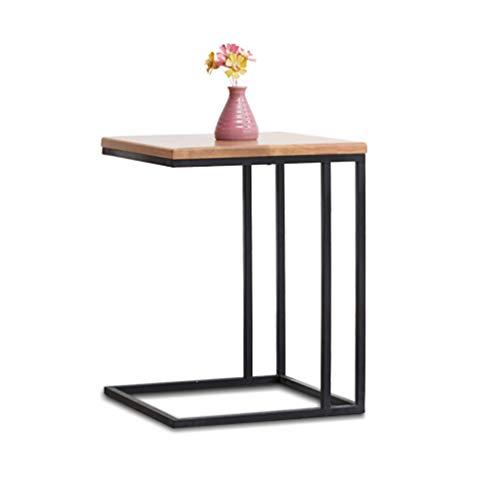 Table basse en bois massif Table de loisirs carrée en fer forgé Bureau côté canapé Bureau de chevet (Color : Wood, Size : 38 * 38 * 50cm)