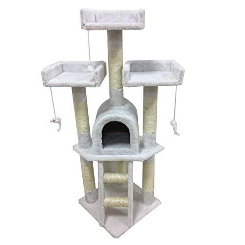 Alta estabilidad, fabricado con aglomerado de la clase E1, rascador para gatos, centro de actividad, cama, rascador de juguete, 115 cm