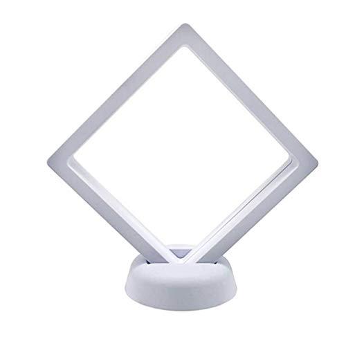 Milageto 1pc 3D Flottant Cadre D'affichage De Bijoux Avec Supports Pour Pièces De Bracelets - blanc, 9x9cm