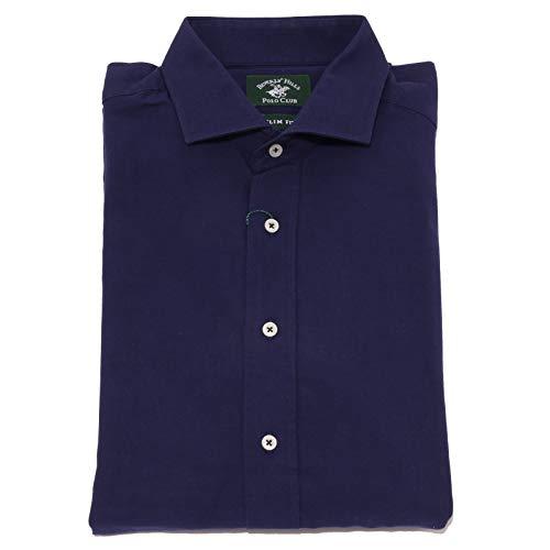 Beverly Hills Polo Club 7650K Camicia Uomo Blue Shirt Cotton Man [L]