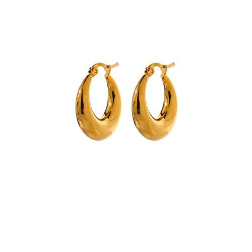 QIN Acero Inoxidable Geometric Hoop Ear Anillo Joya Mujer Moda Metal Textura 18 K Pendientes Accesorios de Oro