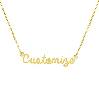 Personalized Name Necklace 18K Gold Plated Children New Mom Bridesmaid Baby Gift Jewelry for Women Girls (Customize Name)