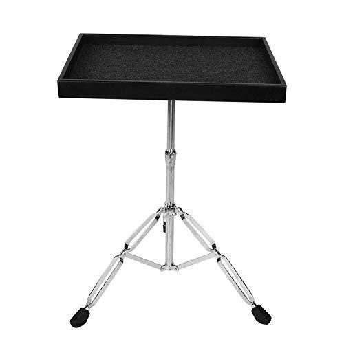 Robuster Percussion-Tisch, stabiler Percussion-Tray-Trap-Tisch Rutschfester Hand-Percussion-Tisch auf der Bühne mit Doppelplatte und Dreibeinstütze, Memory Lock-Funktion für Musikliebhaber(schwarz)