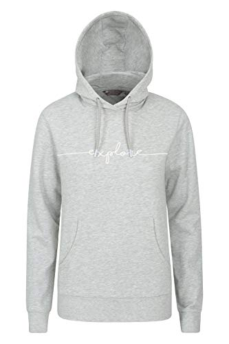 Mountain Warehouse Explore Womens Embroidered Hoodie - Relaxed Fit Ladies Hoody, Drawstring Hood Sweatshirt, Convenient Kangaroo Pocket -Best for Parks, Hiking, Outdoors Grau 46