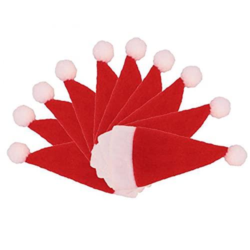 SJZERO Juego de Sombrero de Cubiertos de Navidad de 10 Piezas, decoración de Botellas de Vino, Bolsas de Soporte para vajilla de Hotel, decoración de Mesa de Cocina