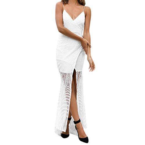Wawer Dames partyjurk sexy effen rug maxi lange dragers jurk avondjurk strandjurk sleufjurk met V-hals en riem vooraan jurk Medium wit