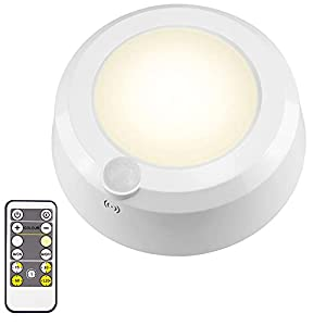 LUXSWAY Wireless Ceiling Light for Shower, Battery Operated Overhead Shower Light with Motion, 80ft RF Remote Controller, Cool/Warm White Battery Ceiling Light for Indoor Timer Off - 300Lumen