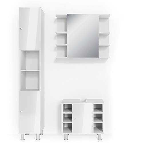 Vicco Badmöbel Set Badezimmermöbel Fynn Spiegel + Unterschrank + Midischrank + Hochschrank (Set 3, Weiß Hochglanz)