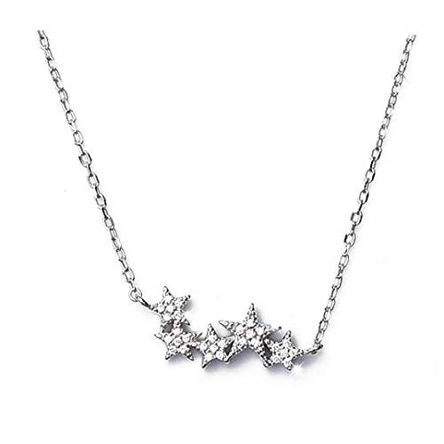 LAANCOO Damen Sterling Silber Kleine Kristallstern Halskette Schmuck Geschenk