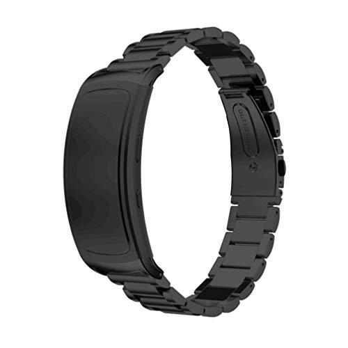 NICERIO - Pulseira compatível com Gear Fit2 Pro/Fit2 – Pulseira de relógio de aço inoxidável para relógio de substituição compatível com Samsung Gear Fit2 SM-R360 Smartwatch, Preto, 11.7x1.8cm