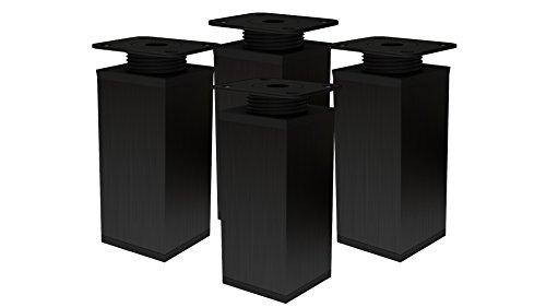 Patas de metal para muebles, altura regulable, 4 unidades, 40 x 40 mm (80 mm), color negro
