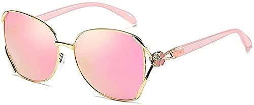 KOOMIBEAR Gafas de sol polarizadas clásicas para mujer, compras, conducción y ciclismo, gafas de sol unisex con protección UV400 (Infierno-rosa)