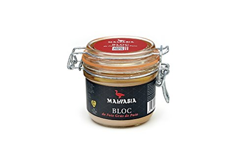 Malvasia Conservas de Foie - Bloc de foie gras de pato auténtico, en tarro de vidrio, 180 g