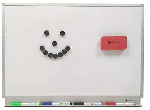 OrgaScout Whiteboard Set - 40cm x 60cm Querformat - Magnettafel mit lackierter Stahloberfläche - mit Tafelwischer, 10 schwarzen Magneten und 4 farbigen Boardmarkern