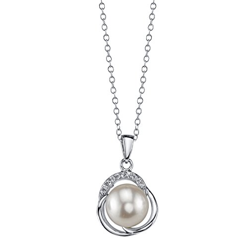 THE PEARL SOURCE 9-10mm Genuine White Freshwater Cultured Pearl & Cubic Zirconia Johnson Pendant Necklace for Women