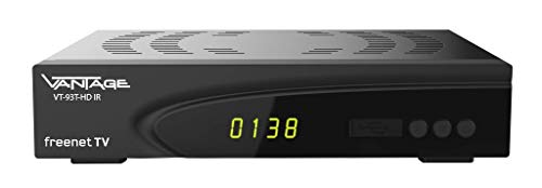Vantage VT93 T-HD IR DVB-T2 Receiver, Digitaler DVB-T2 Receiver für HDTV zum Empfang Aller DVB-T Programme (HD+SD Qualität) HDMI, USB 2.0, Full HD, PVR Ready, Irdeto Entschlüsselungssystem, schwarz