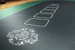 Bullets Playing Cards Profi Pokermatte grün in 160 x 80cm eigenen Pokertisch – Deluxe Pokertuch – Pokerteppich – Pokertischauflage – ideal als Geschenk - 5