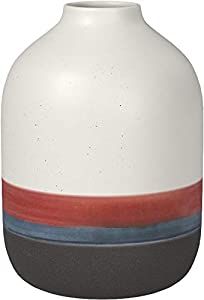 "Amazon Brand – Rivet Westline Modern Indoor Outdoor Hand-Painted Stoneware Flower Vase, 9.5""H, Red White Blue Black"