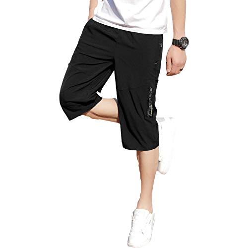 Pantalones de chándal Holgados y Finos de Verano, Pantalones Cortos de Hombre de Talla Grande de Moda Informal para Uso Exterior, con Bolsillo M