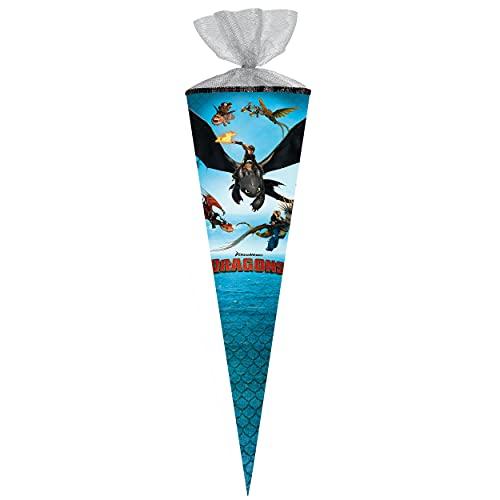 alles-meine.de GmbH Schultüte -  Dragons - Drachenzähmen leicht gemacht  - 50 cm - rund - mit Tüllabschluß - Zuckertüte - mit / ohne Kunststoff Spitze - Nestler - Mädchen Junge..
