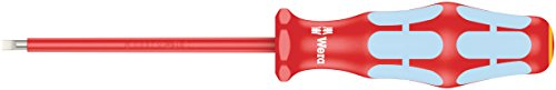 "Wera 05022729001 Kraftform Stainless VDE 3160i Stainless Steel Slotted Screwdriver, Lasertip, 1/8"" Head, 3.19"" BladeLength"