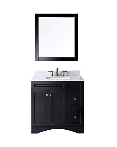 Virtu USA Elise 36 inch Single Sink Bathroom Vanity Set in Espresso w/Square Undermount Sink, Italian Carrara White Marble Countertop, No Faucet, 1 Mirror - ES-32036-WMSQ-ES