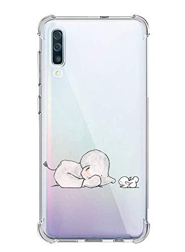 Oihxse Silicona Funda con Samsung Galaxy J3 2018/J337 TPU Flexible Suave Transparente Protector Estuche Airbag Esquinas Reforzadas Ultra-Delgado Elefante Patrón Anti-Choque Caso (C2)