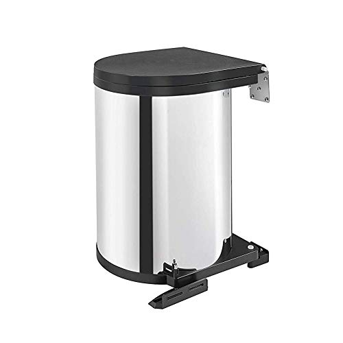 Rev-A-Shelf 8-010314-15 14 Liter Stainless Steel Kitchen or Bathroom Pivot Out Under Sink Cabinet Trash Waste Container Stainless Steel