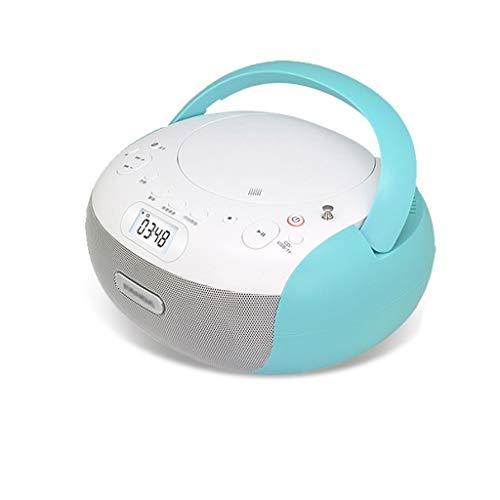 XUANLAN Reproductor de CD portátil Walkman Inicio con el CD de la manija, MP3, WMA Altavoz Reproductor de MP3 de CD de Escritorio portátil de DVD prenatal (Color : Blue)
