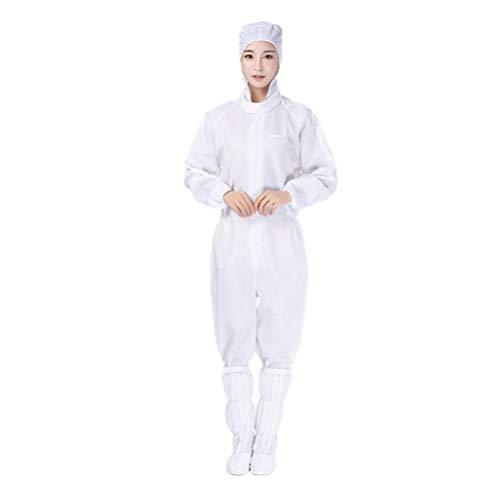 Yarnow Schutzhaubenoveralls Wiederverwendbarer Mikroporöser Antistatischer Ganzkörperanzug Arbeitsschutz Einteiliger Overall für Arbeitskleidung - Größe L (Weiß)