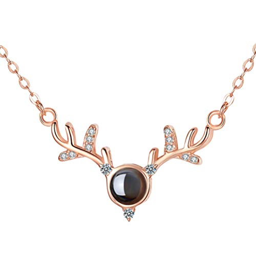 ABOOFAN Collar Colgante de Piedra del Deseo del Día de San Valentín con Cristal de Piedra Natal Un Ciervo Contigo para El Suministro del Día de San Valentín
