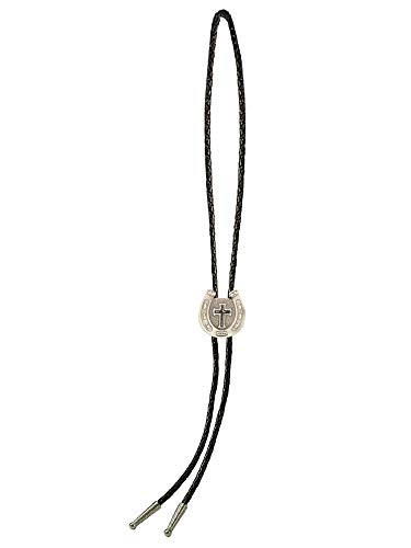 Sunrise Outlet Men's Western Bolo Tie Black Enameled Cross in Horseshoe with Black Leatherette - 18 inch hang