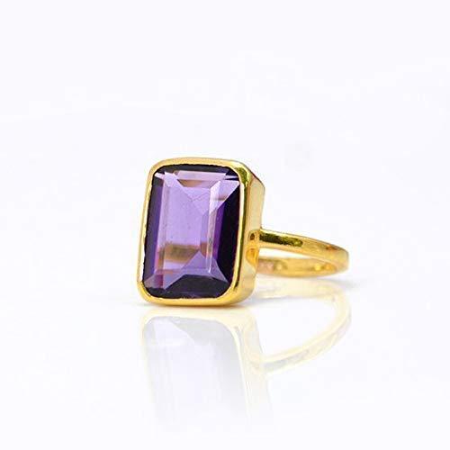 Bezel set Ring Amethyst Ring Designer Ring Handmade Ring wedding gift 18K Gold Plated Ring Women Ring Jewellrey