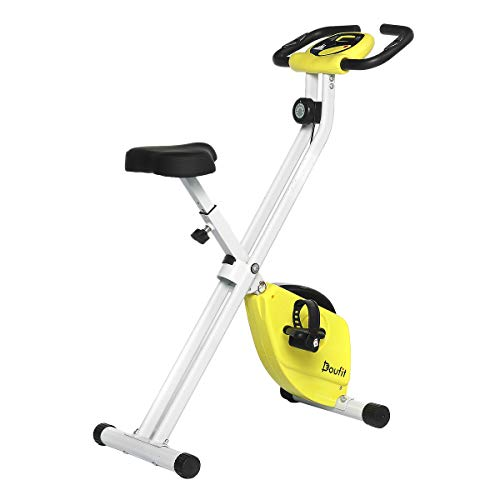 Exercise Bike Foldable for Home Use, Doufit EB-04 Quiet Folding Workout Bicycle, Adjustable Magnetic Stationary Exercise Bike with Pulse sensor & Lcd Monitor
