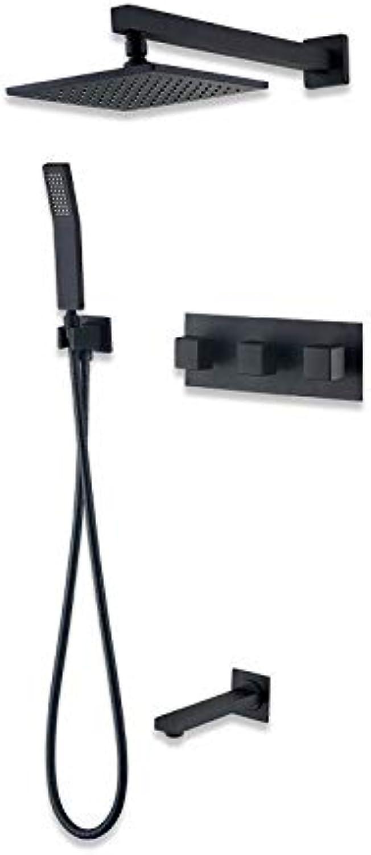 MFHSB Modernes Duschset mit DREI-Gang-Einstellung, Square Shower Head Kit, Simple Concealed Hot und Cold Shower Scalding Protection