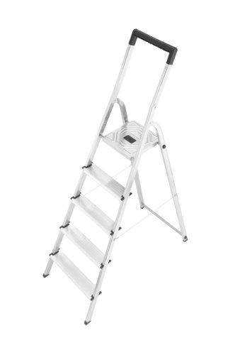Hailo L40 - Escalera doméstica de aluminio, travesaño de seguridad con gancho para cubo (5 peldaños)
