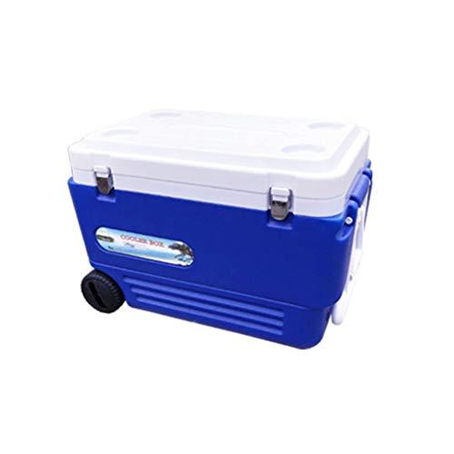 Outdoor Cooler Box, Vissen Plastic Blauw Multifunctionele Vriezer Koelbox Met Wielen Elektrische Koelbox 65 * 42 * 44CM