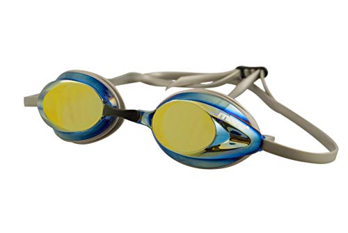 Maru Schwimmbrille, Unisex, AG5704, Silber/Blau/Gold, Erwachsene