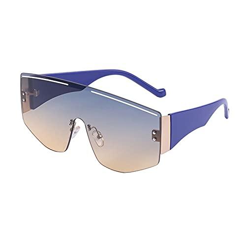 AMFG Una tendencia a prueba de viento gafas de sol de moda femenina aire libre que monta Lentes de Deporte Gafas de sol de los hombres vidrios sin rebordes (Color : F, Size : M)