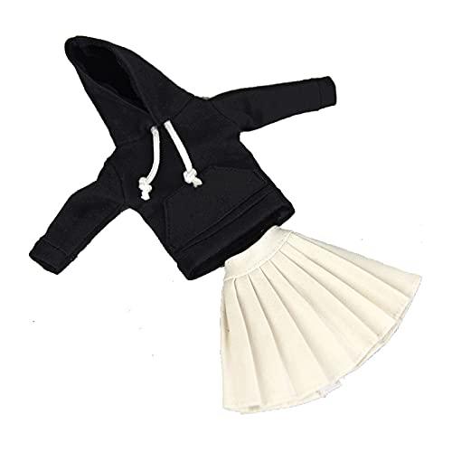 Tops de manga larga negra cálida de invierno + Mini pantalones cortos blancos Trajes de vestir para ropa de muñeca Barbie Conjunto de ropa para 1/6 Muñecas BJD Casa Decoración de la ventana Artesanías