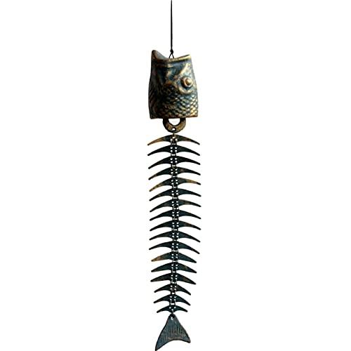 Chutoral Retro Wind Chimes, 19.7In Fish Windchimes Fish Bone Cast Iron Wind Chimes Ornaments for Garden Window Patio(Green+Gold)
