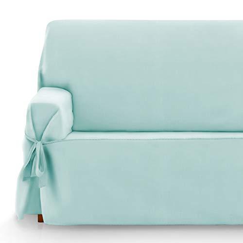 Vipalia Protector Funda Sofa Lazos. Cubresofa. Fundas para Sofa Loneta Lisa. Reversible Comodo Practico Resistente. Algodon Ecologico. Facil Montaje. Calidad Diseño Royale. Color Verde. 3 Plazas